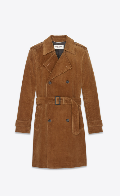 SAINT LAURENT Trench Coats Man Trench coat in camel corduroy a_V4