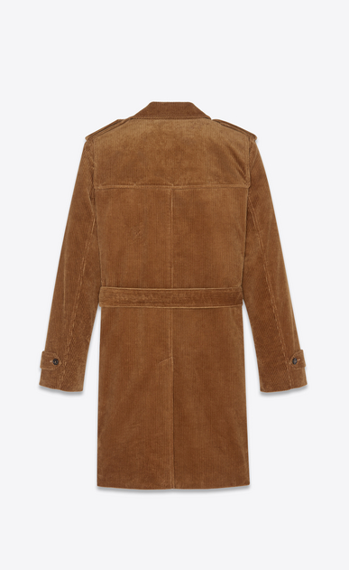SAINT LAURENT Trench Coats Man Trench coat in camel corduroy b_V4