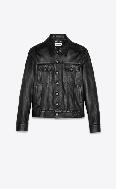 SAINT LAURENT Leather jacket Man lambskin denim jacket a_V4