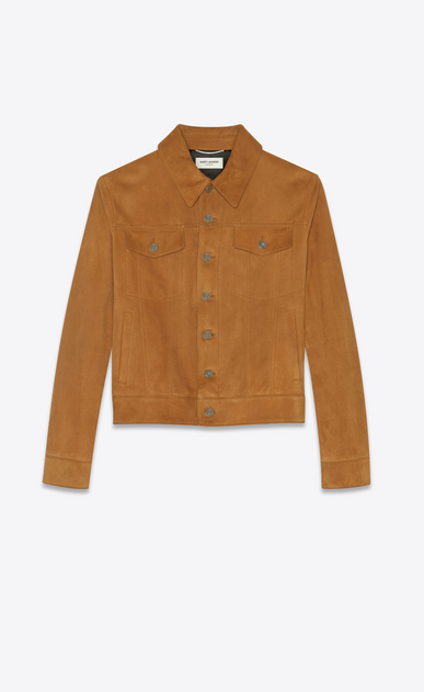 SAINT LAURENT Leather jacket Man suede denim jacket a_V4