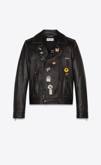"SAINT LAURENT Leather jacket Man ""pins & studs"" motorcycle in lambskin a_V4"