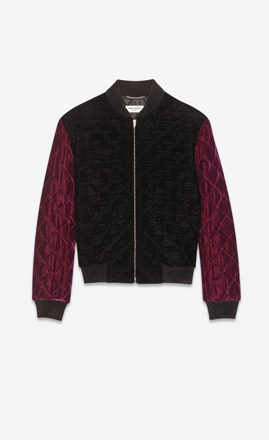 SAINT LAURENT Casual Jackets Man Varsity jacket in black and dark purple quilted velvet a_V4
