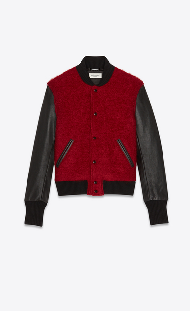 SAINT LAURENT Casual Jackets Man Varsity jacket in red mohair and black leather a_V4