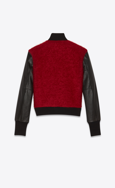 SAINT LAURENT Casual Jackets Man Varsity jacket in red mohair and black leather b_V4