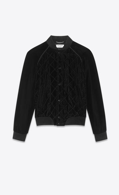 SAINT LAURENT Casual Jackets Man Varsity jacket in black quilted velvet a_V4