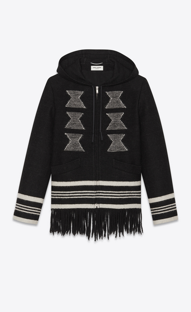 SAINT LAURENT Casual Jackets Man Fringed baja in a black and white knit a_V4