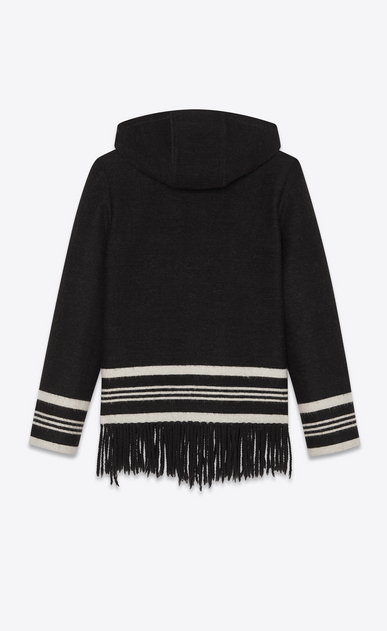 SAINT LAURENT Casual Jackets Man Fringed baja in a black and white knit b_V4