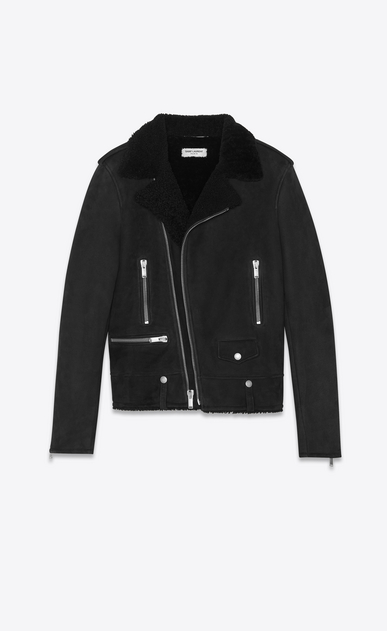 SAINT LAURENT Leather jacket Man shearling saint laurent motorcycle a_V4