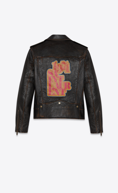 "SAINT LAURENT Leather jacket Man ""1971 saint laurent"" motorcycle in vintage leather a_V4"