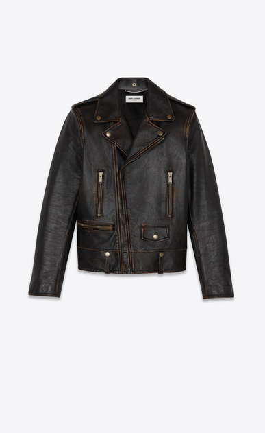 "SAINT LAURENT Leather jacket Man ""1971 saint laurent"" motorcycle in vintage leather b_V4"
