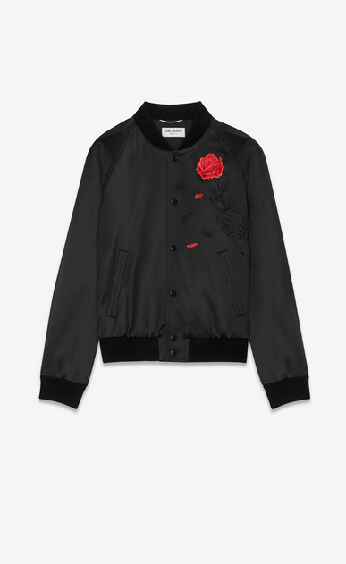 SAINT LAURENT Casual Jackets Man Varsity jacket in black satin with an embroidered rose and skeleton a_V4