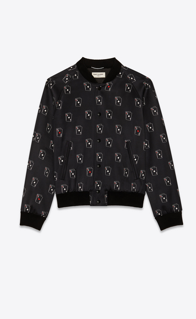 SAINT LAURENT Casual Jackets Man Varsity jacket in black satin with SL playing card print a_V4