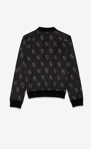 SAINT LAURENT Casual Jackets Man Varsity jacket in black satin with SL playing card print b_V4