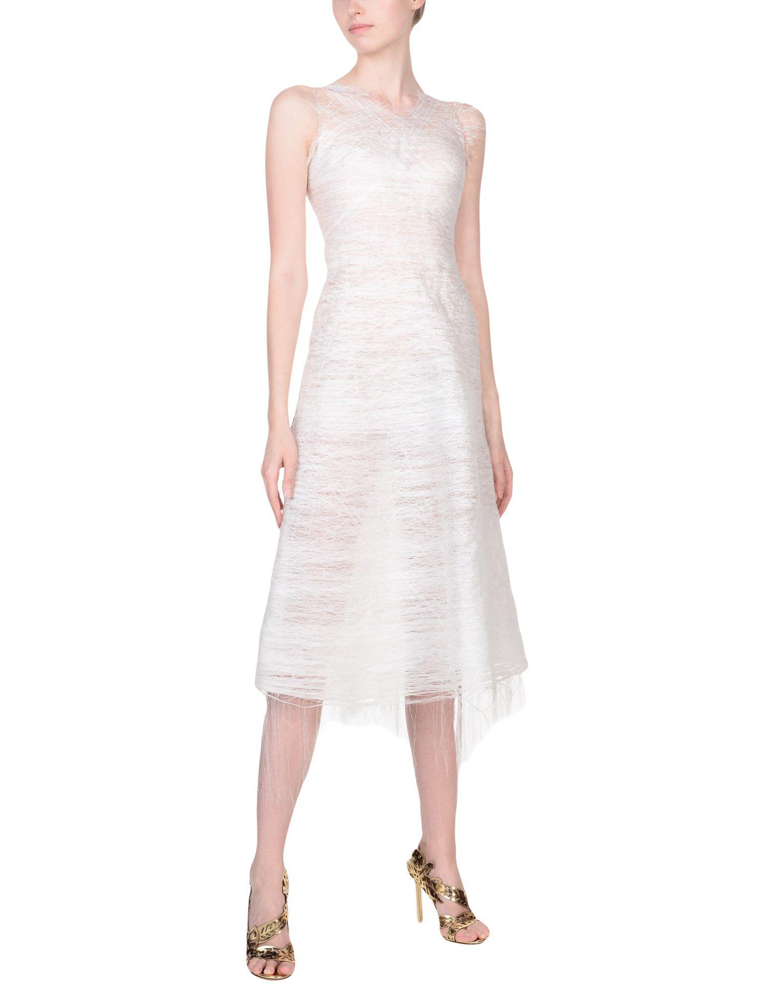 《セール開催中》MATTEO THIELA レディース 7分丈ワンピース・ドレス ホワイト S ポリエステル 100%