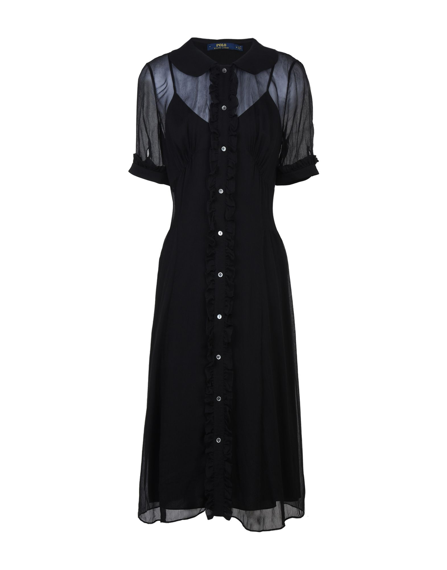 《送料無料》POLO RALPH LAUREN レディース ひざ丈ワンピース ブラック 2 シルク 100% Chiffon Shirtdress