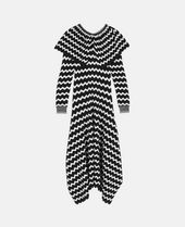 CAPE-EFFECT INTARSIA WOOL MIDI DRESS
