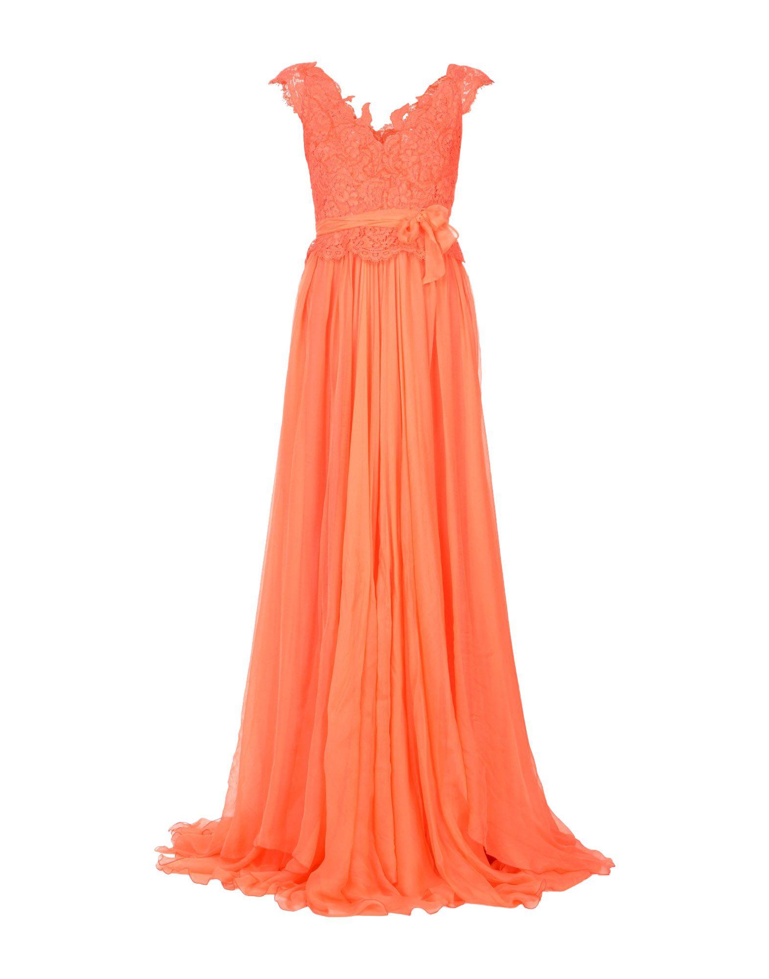 RHEA COSTA Long Dress in Coral