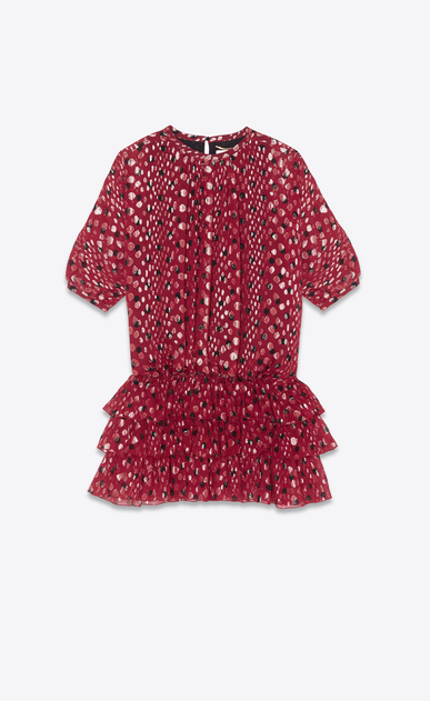 SAINT LAURENT Dresses Woman Dress in burgundy silk georgette with gold lamé polka dots a_V4