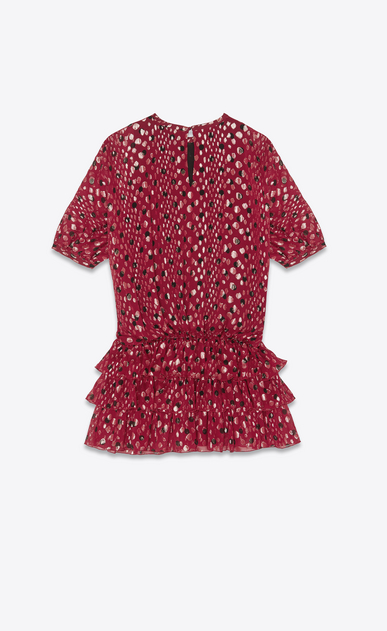 SAINT LAURENT Dresses Woman Dress in burgundy silk georgette with gold lamé polka dots b_V4