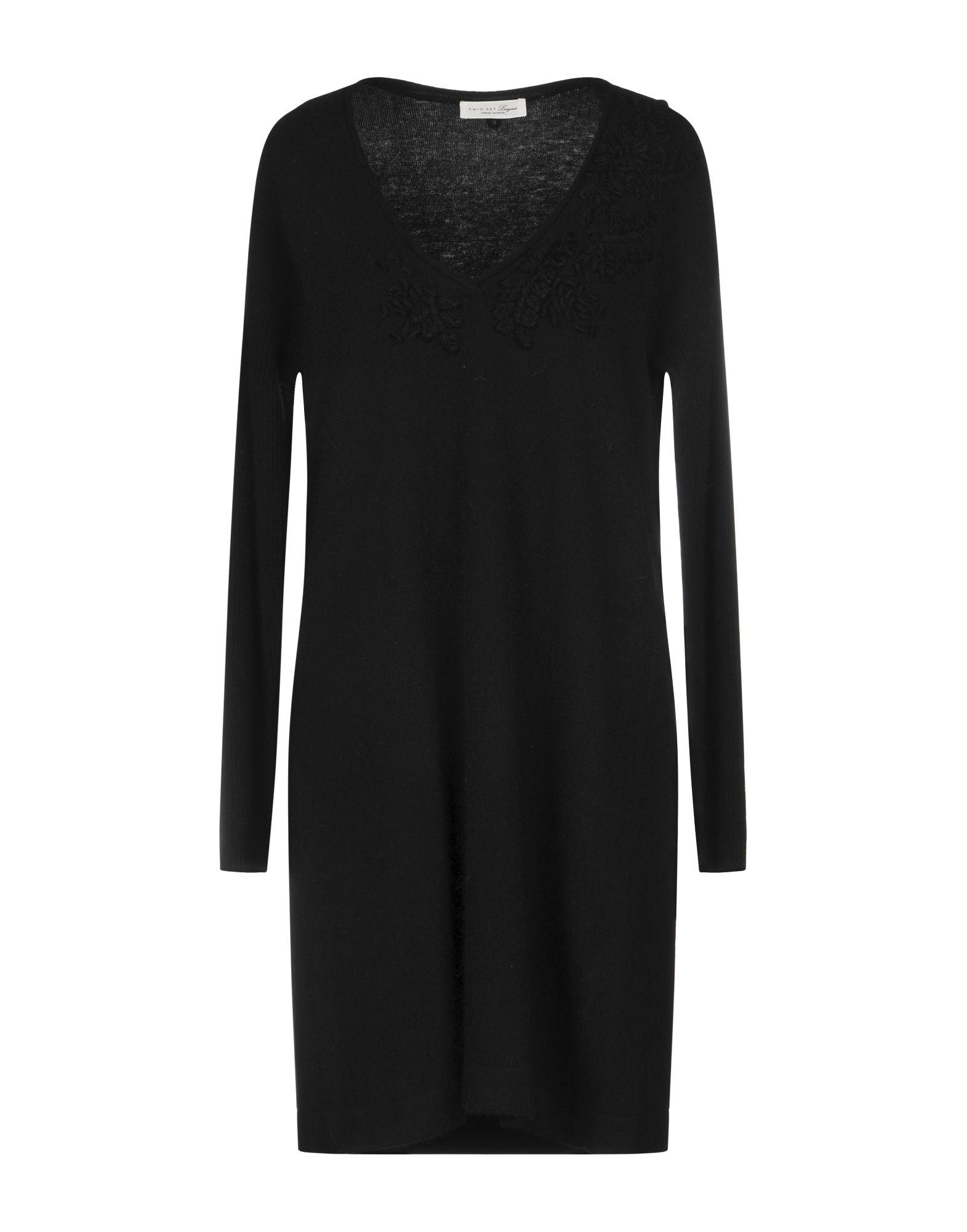 TWIN-SET LINGERIE Короткое платье black v neck lace details lingerie set