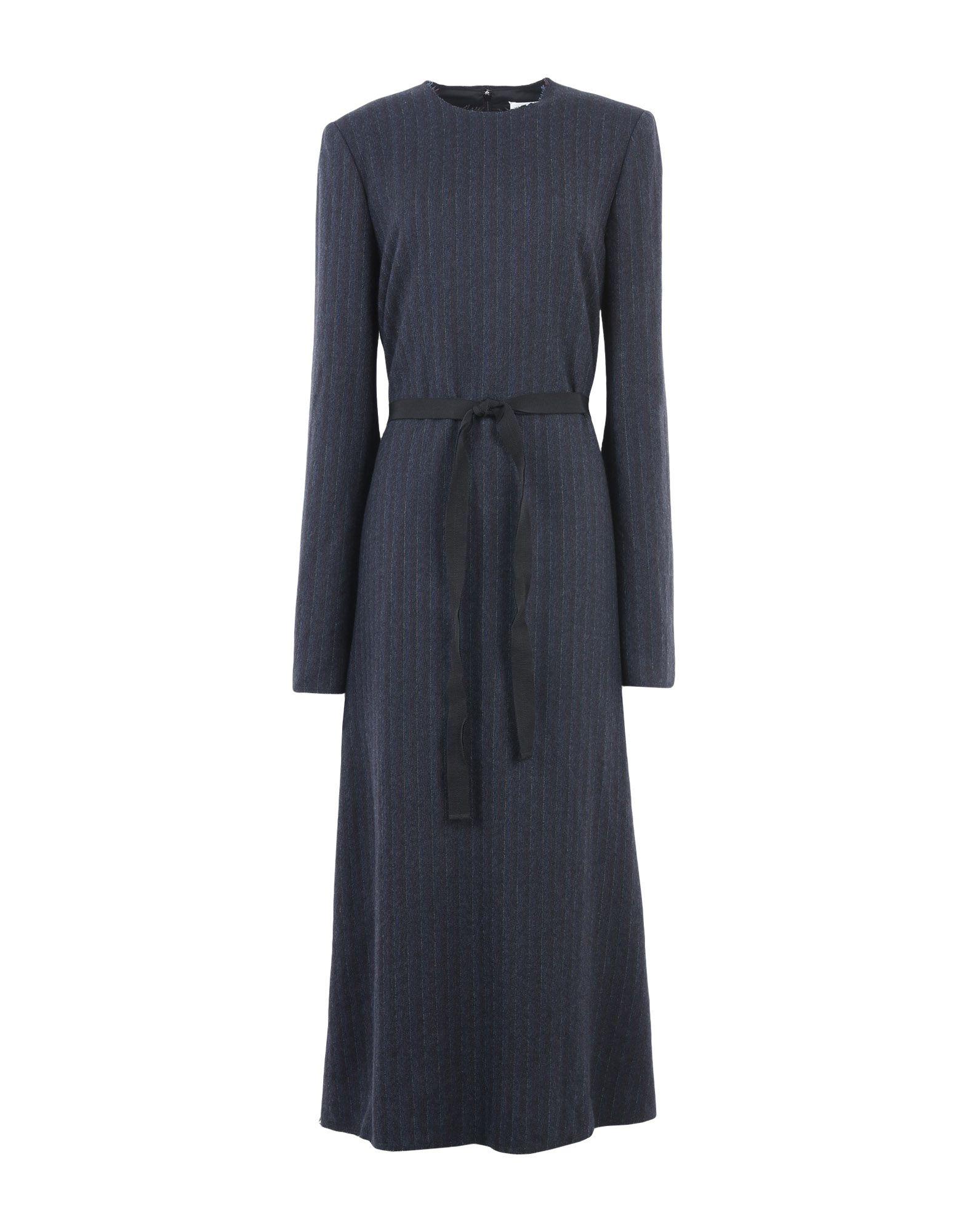 《送料無料》MAISON MARGIELA レディース ロングワンピース&ドレス ダークブルー 44 バージンウール 100%