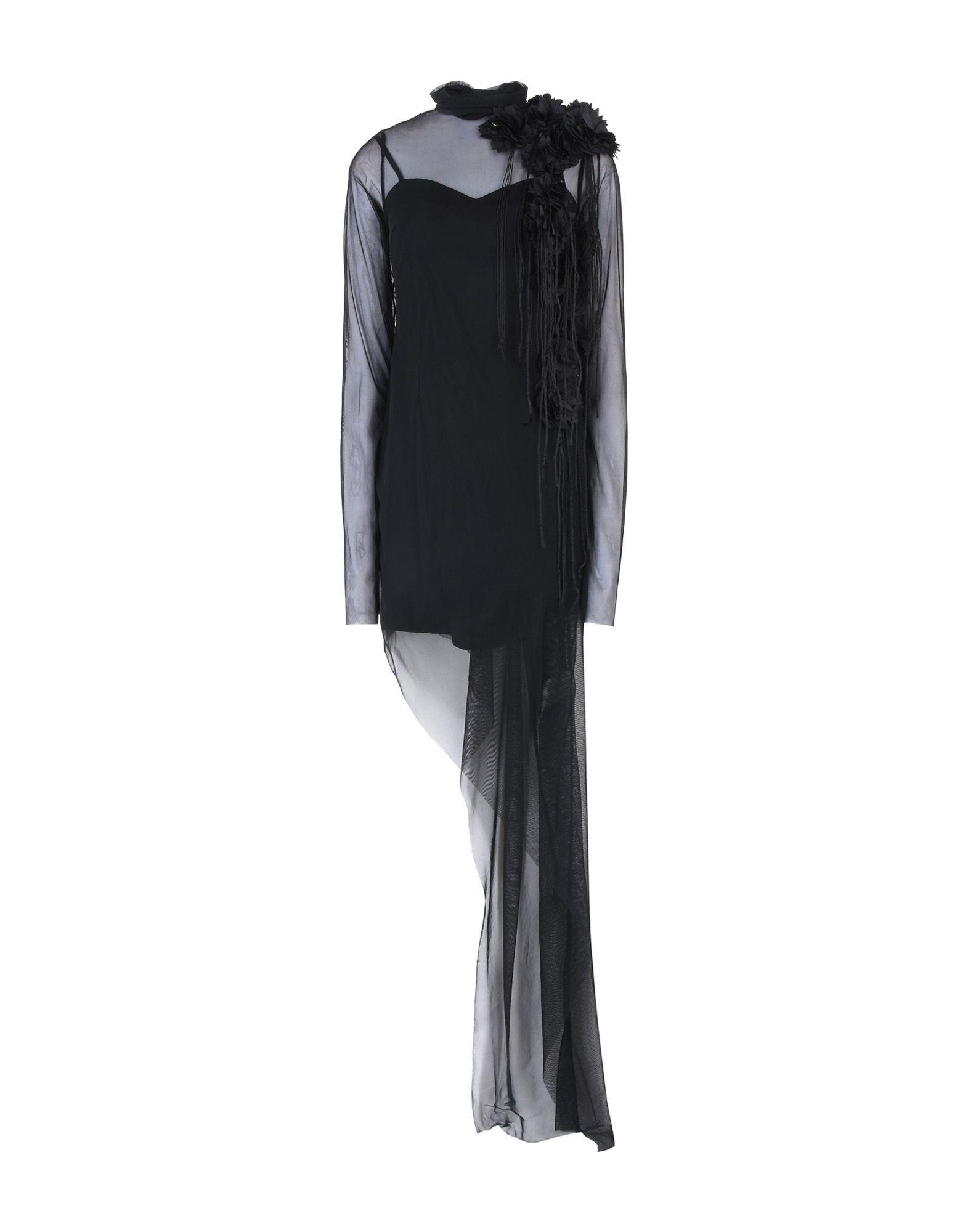 《送料無料》MANGANO レディース ミニワンピース&ドレス ブラック 38 ナイロン 100%