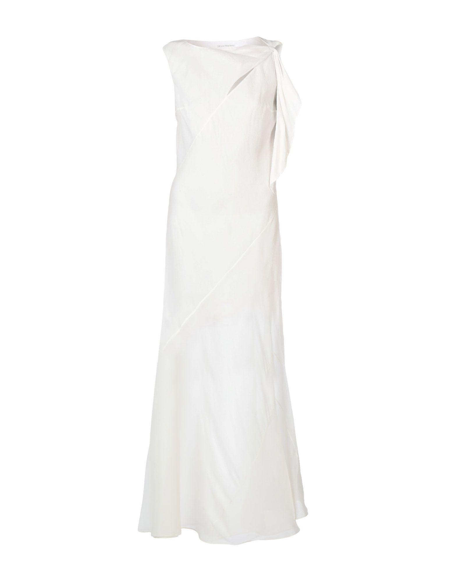 《送料無料》OLIVIER THEYSKENS レディース ロングワンピース&ドレス アイボリー 40 シルク 100%