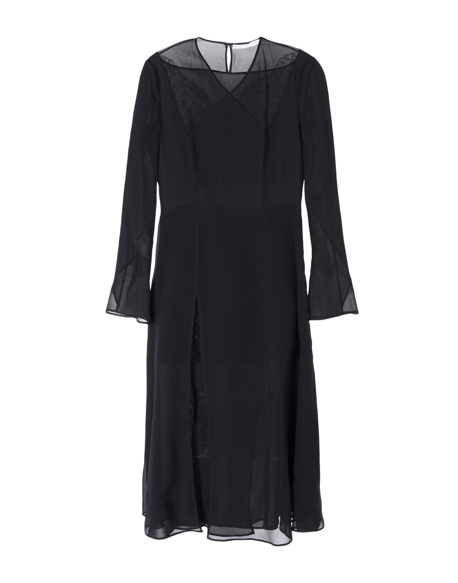 《送料無料》OLIVIER THEYSKENS レディース 7分丈ワンピース・ドレス ブラック 40 シルク 100%