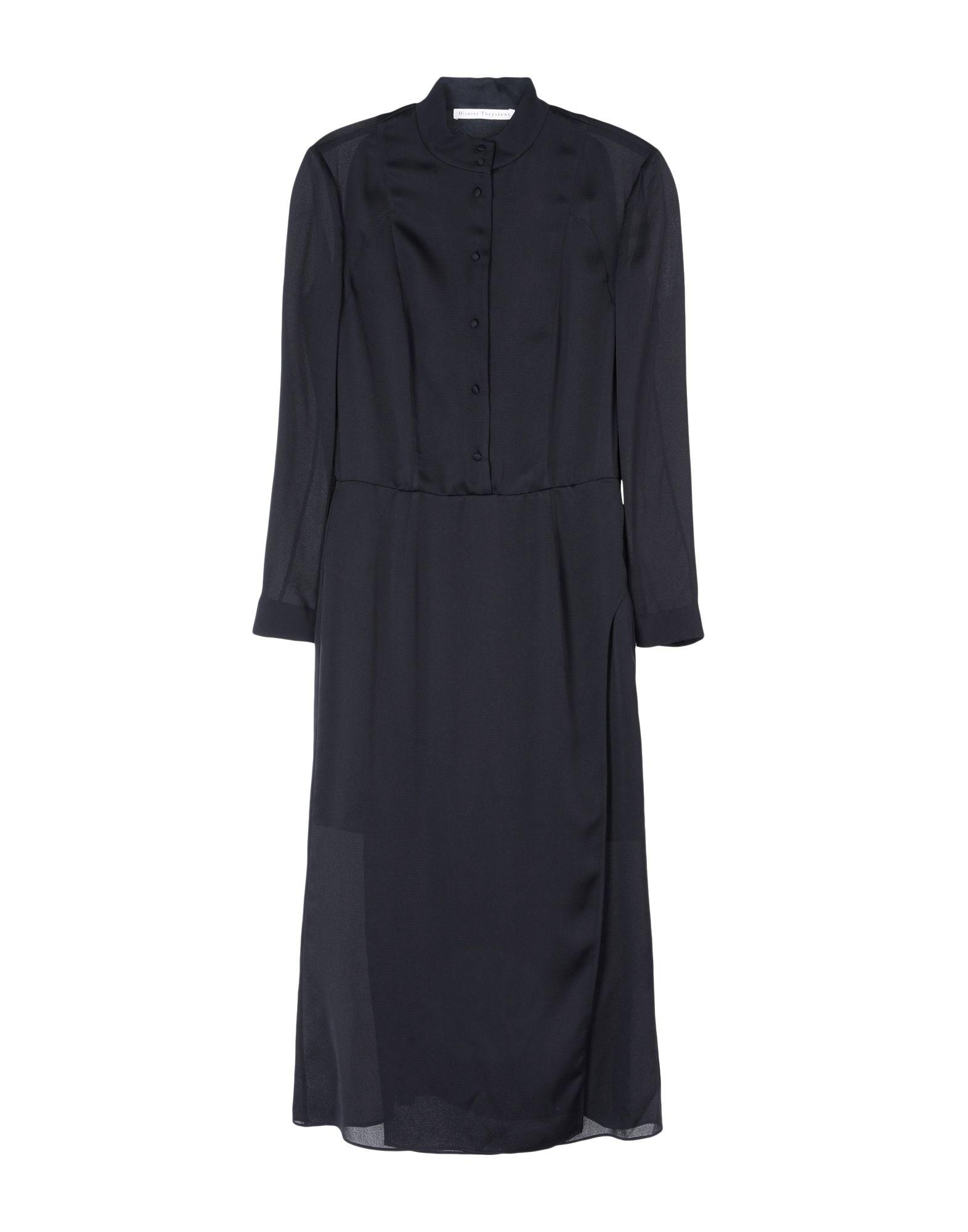 《送料無料》OLIVIER THEYSKENS レディース 7分丈ワンピース・ドレス ブラック 42 シルク 100%