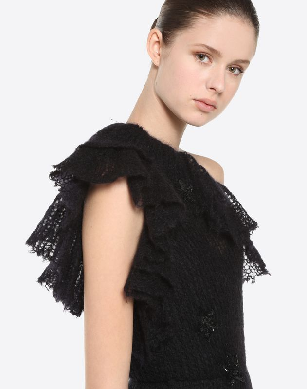 Knit dress with Black Stars embroidery
