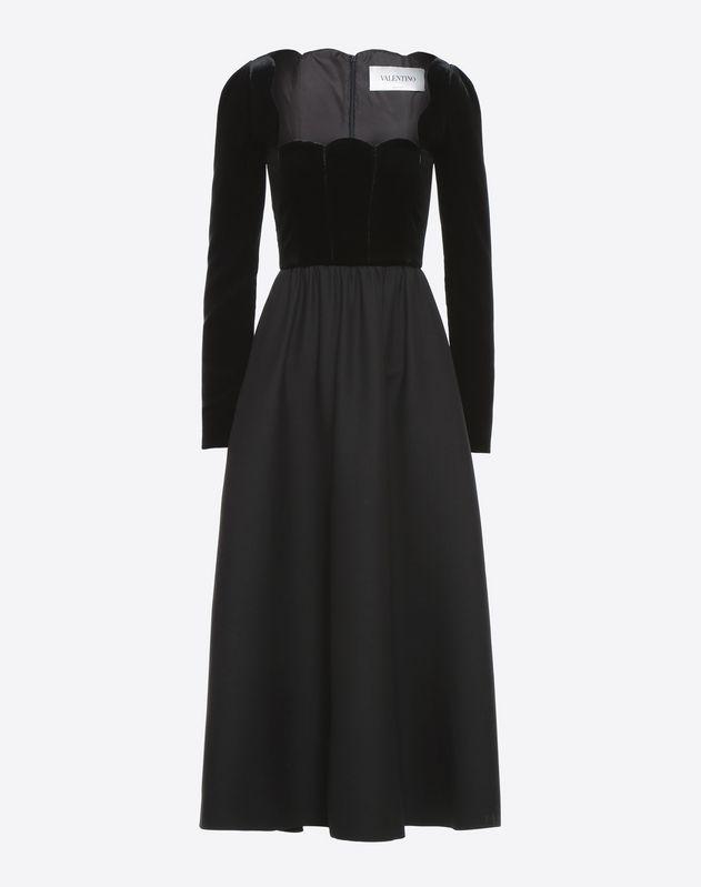 Robe festonnée en crêpe couture et velours