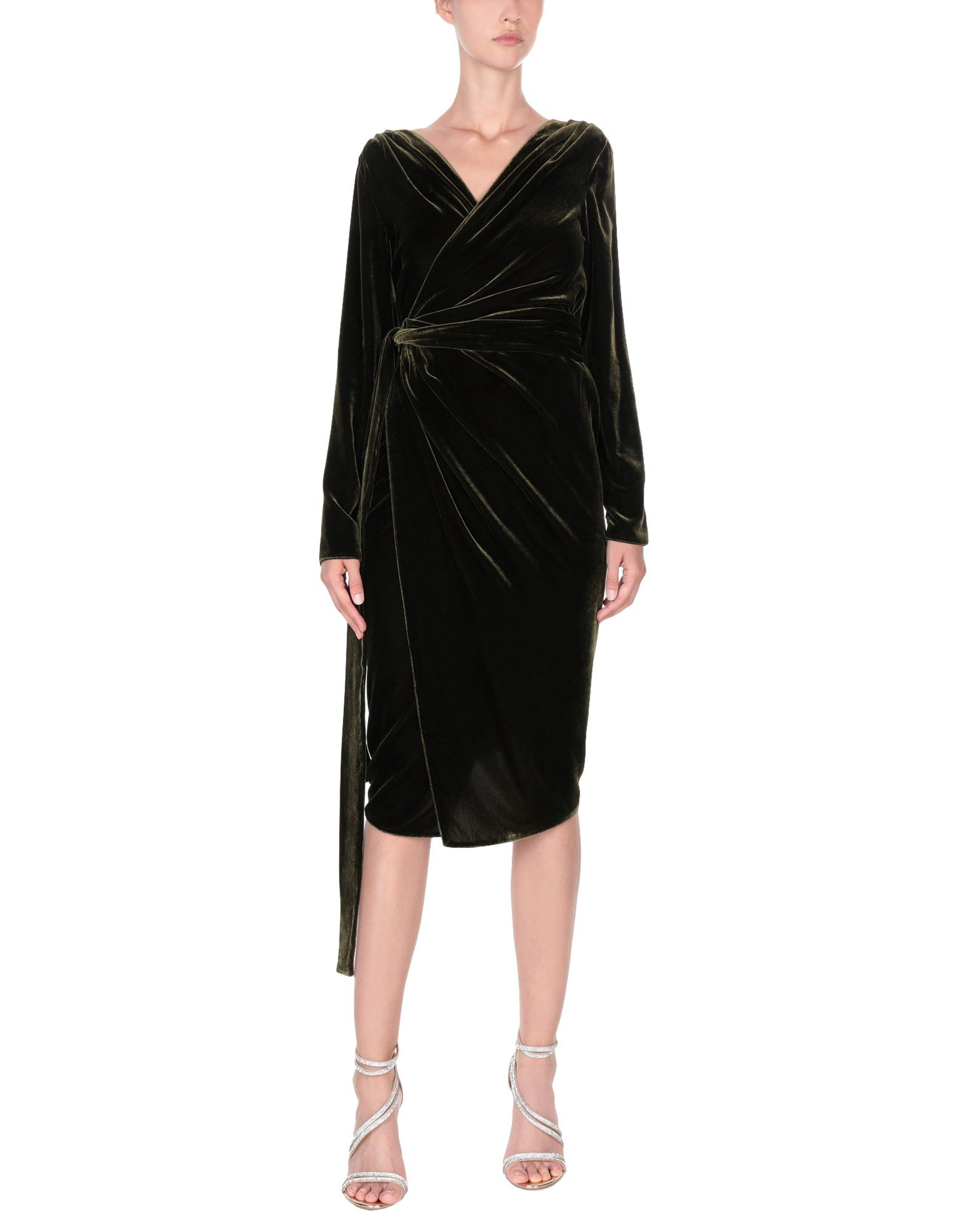 RHEA COSTA Midi Dress in Dark Green