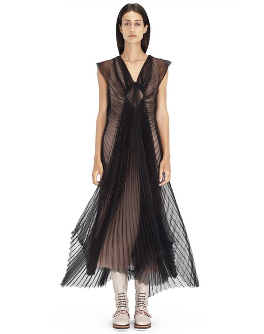PLEATED BLACK ORGANZA DRESS - Lanvin