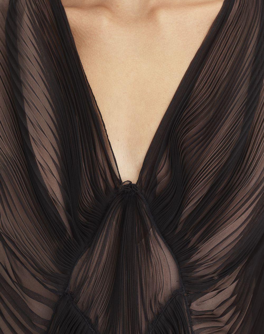 PLEATED BLACK ORGANZA DRESS - Lanvin
