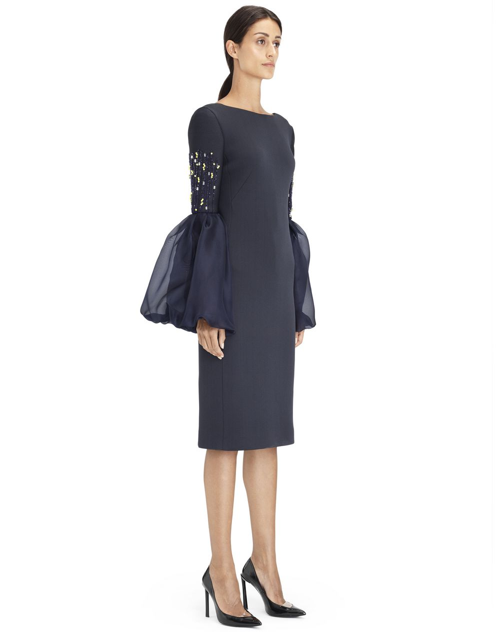 EMBROIDERED SILK NEOPRENE DRESS - Lanvin