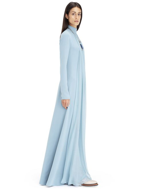 LONG AQUA SILK GEORGETTE DRESS  - Lanvin