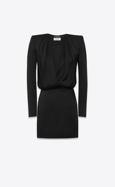 "SAINT LAURENT ドレス レディース Deep V neck dress in ""crêpe envers satin"" a_V4"