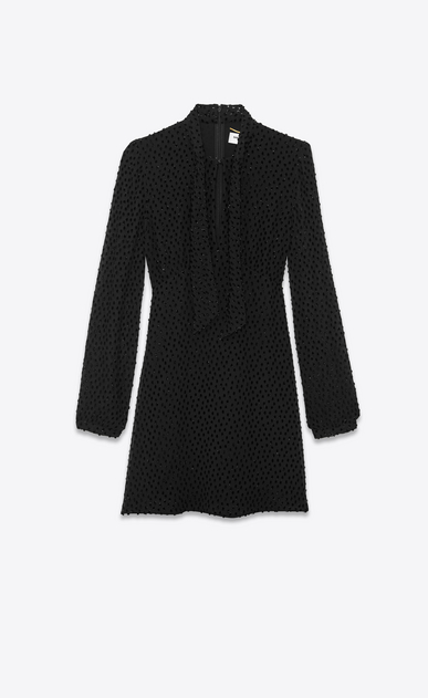 SAINT LAURENT Dresses Woman Plumetis velvet Lavallière dress a_V4