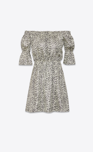 SAINT LAURENT Dresses Woman lamé leopard silk dress a_V4