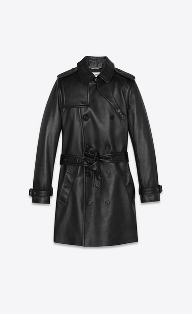 SAINT LAURENT Leather jacket Woman lambskin trench coat a_V4