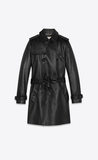 Trenchcoat aus schwarzem Leder