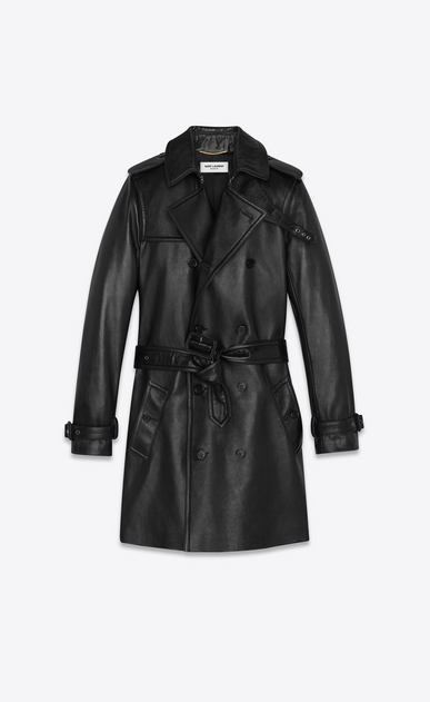 SAINT LAURENT Leather jacket Woman lambskin trench coat b_V4