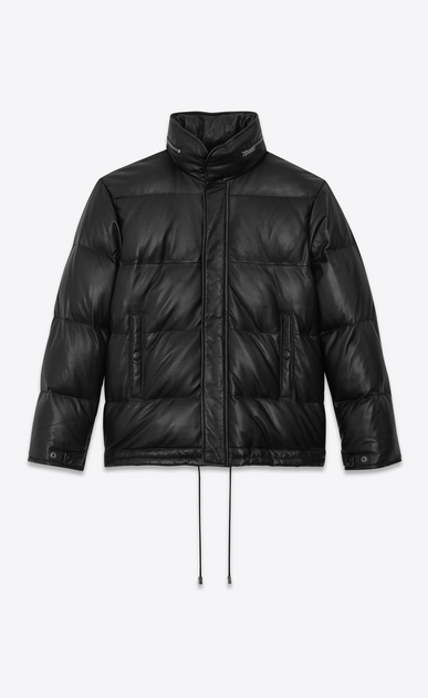 SAINT LAURENT Leather jacket Woman lambskin Down jacket a_V4