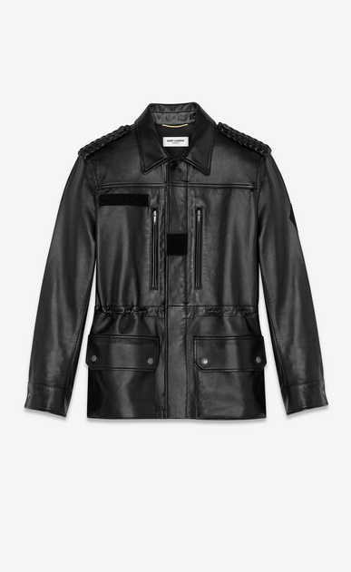 SAINT LAURENT Leather jacket Woman lambskin military parka a_V4