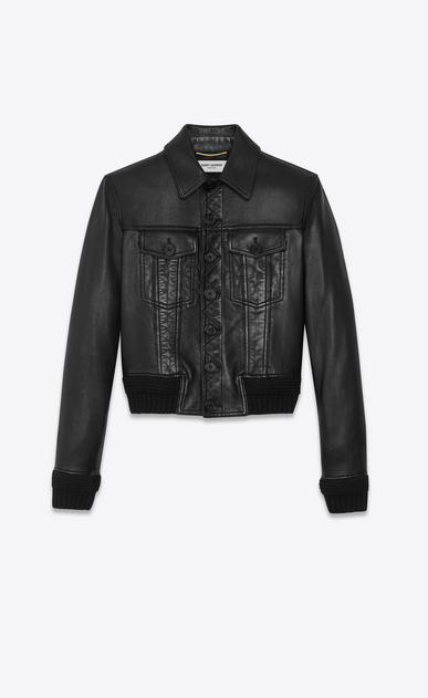 SAINT LAURENT Leather jacket Woman Lambskin denim jacket a_V4