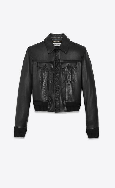 Geknöpfte Jacke aus schwarzem Leder