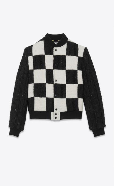 SAINT LAURENT Casual Jackets Woman checkerboard Teddy in embroidered tweed a_V4