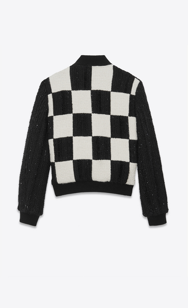 SAINT LAURENT Casual Jackets Woman checkerboard Teddy in embroidered tweed b_V4