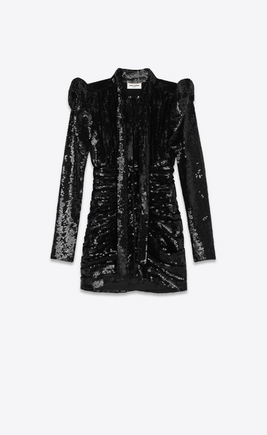 SAINT LAURENT Dresses Woman all over embroidered high waisted Lavallière dress a_V4