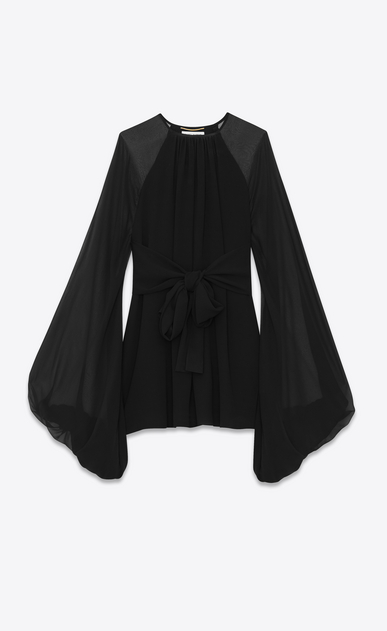 SAINT LAURENT Dresses Woman oversized sleeve dress in silk georgette a_V4